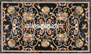 Black Marble Real Dining Table Marquetry Work Art Mosaic Inlay Patio Decor H3327