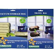 10 Pack - 6 Xl Vacuum Seal Storage Space Saver Bags And 4 Compress Travel Bag