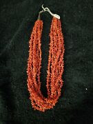 Vintage Native American Multi Strand Coral And Silver Necklace 730 Plus Tcw.
