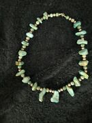 Vintage Native American Old Pawn Turquise And Silver Neckless Non Treated