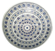 Marble Coffee Dining Table Top Lapis Stone Mosaic Inlay Floral Patio Decor H949