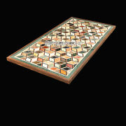 Marble Dining Side Table Top Mosaic Cubes Inlay Design Furniture Decor H3829