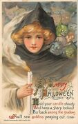 1911 Schmucker Winsch Happy Halloween Goblins And Girl With Candlelight Post Card