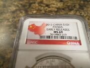 2012 Chinese Panda - 1oz. .999 Silver - Ngc Ms69 - Early Releases - 319