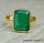 925 Sterling Silver Natural Colombian Emerald Octagon Shape Handmade Ring
