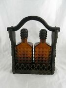 2 Vintage Brown Amber Glass Whiskey Decanters With Wooden Carrier Storage Rack