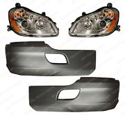 Qsc Bumper Corner Headlight Assemblies Left And Right Pair For Kenworth T680