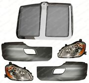 Qsc Black Bumper Corner And Headlight Left Right Pair W/ Grille For Kenworth T680
