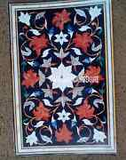 30x48 Black Marble Side Dining Dinner Table Top Marquetry Inlay Hallway Decor