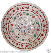 4and039x4and039 White Dining Room Marble Top Tables Inlaid Mosaic Stone Christmas Decor