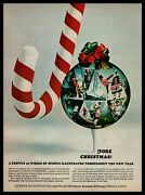1968 Sports Illustrated Subscription Gift Candy Cane Christmas Ornament Print Ad
