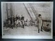 Large 19th C Antique British Navy Napoleon On Board H.m.s. Bellerophon Etching