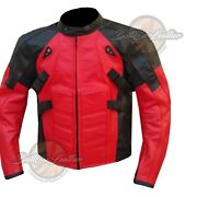 Ryan Reynolds Deadpool Red Black Leather Jacket Armoured Cow Leather Biker Style