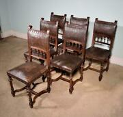 Set Of 6 Antique French Henry Ii Walnut And Embossed Leather Chairs