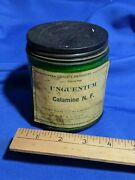 Rare Old Antique Apothecary Glass Bottle Jar Paper Label Green Unguentum Calamin