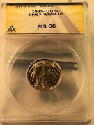 1935-d Rpm7 D/d/d East And West Anacs Ms66 Buffalo Nickel Error Super Nice