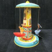 Vintage Tin Wind Up Musical Litho Toy Carousel Boat Ride Unique Art Mfg. Co.
