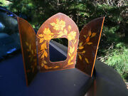 Vintage 2 Door Front Wooden Picture Frame Hand Painted Hinged 6 By 4.5 Open