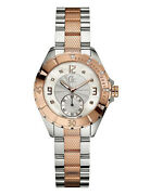 New Guess Collections Gc Women Silver Rose Gold-tone Watch A70102l1 New With Tag