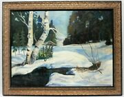 Large Oil 30x37- Winter Scene -signed And Dated 1958
