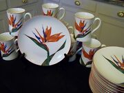 Birds Of Paradise Fitz And Floyd Fine China For 12 Breakfast Des Tea Service