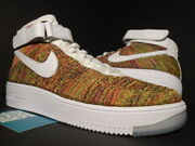 Nike Air Force 1 Af1 Ultra Flyknit Mid Multicolor White Volt 817420-700 New 10.5