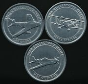 3 Ama Collector's Series Tokens Pitts Special, P-51 Mustang, F-86 Sabre