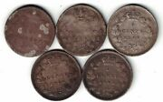 5 X Canada 5 Cent Queen Victoria Sterling Silver Coins 1880h 1886 1899 1900 1901