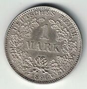Germany Empire 1896 J 1 Mark Crowned Imperial Eagle .900 Silver Foreign Coin