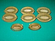 Federal Style Antique Dresser Handles / Pulls Set Eight Two Sizes With Bolts