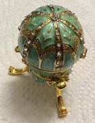 """enamel Decorative Faberge Egg With Pendant And 20"""" Chaineaster Decoration"""