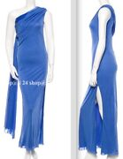 Versace Blue One Shoulder Gown Scarf Periwinkle Dress- Us4/6, It40