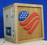 Vintage Post Office Door 1981 Piggy Bank Red, White And Blue Heart