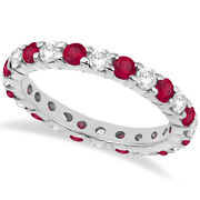 2.35ct Stackable Eternity Diamond And Ruby Ring Wedding Band 14k White Gold