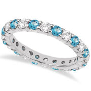2.40ct Stackable Eternity Diamond And Blue Topaz Ring Wedding Band 14k White Gold
