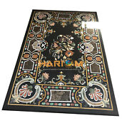5and039x3and039 Black Marble Dining Table Top Multi Floral Marquetry Inlay Home Decor B087
