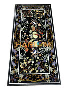 5and039x3and039 Black Marble Center Dining Table Top Multi Stone Floral Inlay Decor B096