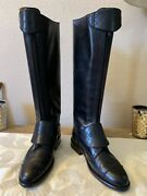 Black Leather Polo Riding Buckled Knee High Tall Flat Boots 39 2150