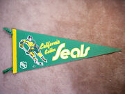 Early 1970and039s California Golden Seals Nhl Hockey Pennant Flag With Streamers