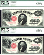 1917 1 Legal Tender-2 Consecutives-fr 39 United State Note-pcgs 63 Choice New