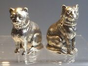 Heavy Solid Silver Cat Salt And Pepper Pots
