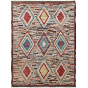 Thick-plush Diamond Modern Moroccan Shaggy Hand-knotted Wool Area Rug 8and039x11and039