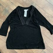 Chicos Travelers Size 3 Top Pullover Tunic Black Xl Nwt F8