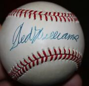 Ted Williams Autographed Bobby Brown Baseball With Coa Boston Red Sox Hof
