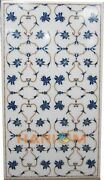 4and039x2and039 Marble White Dining Collectible Top Table Inlay Fine Floral Art Decor W246