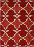 Kalaty Red Crosshatch Diagonals Pointed Contemporary Area Rug Geometric Pf-340