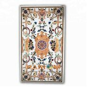 4and039x3and039 White Marble Dining Table Top Pietradura Outdoor Handmade Inlay Decor W324