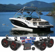 4 For Mtx 6.5 Marine Wakeboard Tower Speakers+ledand039s+amplifier+bluetooth Control