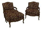 31688ec Pair French Louis Xv Bergere Chairs And Matching Ottoman