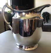 Poole Silver Co Epns Large Silverplate Pitcher Taunton Mass 8.5 X 8.5 X 5
